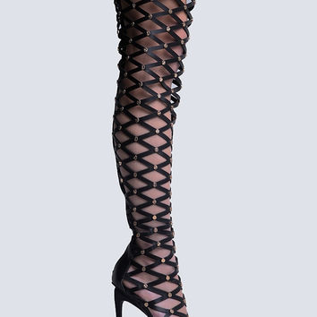 NET CUTOUT THIGH HIGH BOOT
