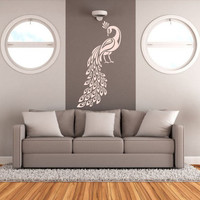 Wall Decal Vinyl Sticker Decals Art Decor Design Peacock Birds Feather Tail Pin Bedroom Modern Fashion Style (r121)