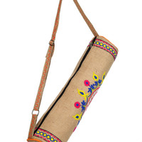 Stylish Yoga Mat Bag - Hand Embroidered in India With Quality Full Zipper & Strap (Jute)