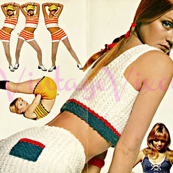 10 Knitting and Crochet PATTERNs 70s Sexy Crop Tops  Hot Pants Instant Download Pdf USA Pattern Sexy Crochet in Big Print