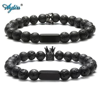 Cool Ayliss 2018 Couples Lover His Queen Her King Bracelets 8MM Natural Lava Rock Stone Beads Stretch Bracelet Valentine's Day GiftAT_93_12