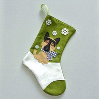 German Shepherd Dog Christmas Stocking by Allenbrite Studio -- Your Choice of Color