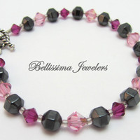Pretty in Pink Swarovski Crystal and Hematite Bracelet - Great Gift at Affordable Price