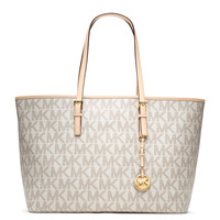 Medium Jet Set Multifunction Logo Travel Monogram Tote Bag, Vanilla - MICHAEL Michael Kors