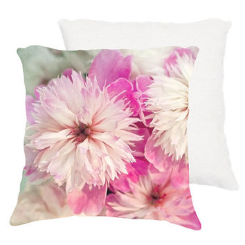 "Shabby chic home decor ""Pink and white peonies"" 18x18 or 22x22 pillow, cottage decor, pink floral pillow, pastel, pink, aqua, white,flowers"