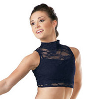 Sleeveless Lace Mock Turtleneck Crop Top - Dancewear Solutions