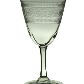 Engraved Port or Sherry Wine Glass Antique English circa 1900