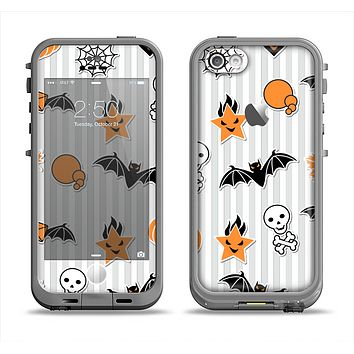 The Halloween Icons Over Gray & White Striped Surface  Apple iPhone 5c LifeProof Fre Case Skin Set