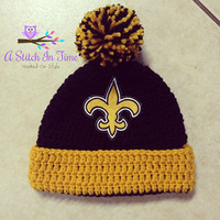 NFL Beanie/Hat with trim and Pom Pom Photo Prop for any football team of your choice (New Orleans Saints) Newborn - Adult Size