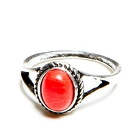 Coral Stone Vintage Ring