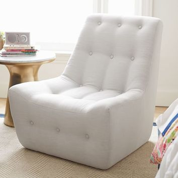 Gray Linen Modern Slipper Chair