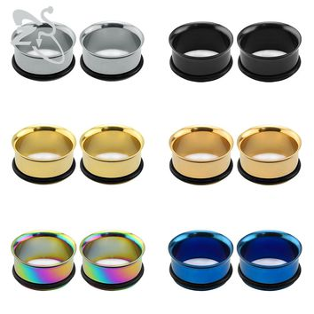 1 Pair Stainless Steel Single Flare Flesh Tunnel Ear Plugs Gauges Expander 3~25mm Ear Stretcher Body Piercing Jewelry For Unisex