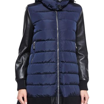 Blois Flyaway-Back Coat, Black/Blue, Size: 1 (X-SMALL), BLACK/BLUE - Moncler