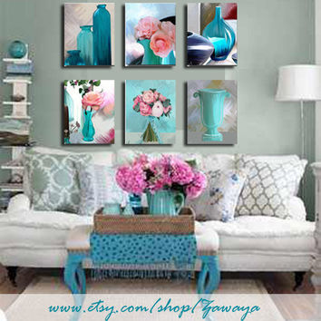 turquoise and pink Home decor ready to hang painting by Zawaya