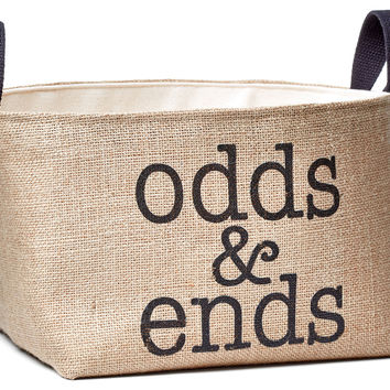 "Printed Burlap ""Odds & Ends"" Bin, Storage Boxes & Bins"