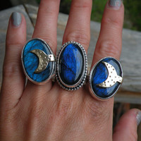 Labradorite Moon Ring, Blue Labradorite, Sterling Silver, Moon Ring