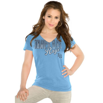 Touch by Alyssa Milano Tampa Bay Rays Ladies Start Up V-Neck Slim Fit T-Shirt - Light Blue