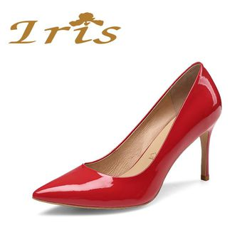 IRIS Women Red Heel Shoes Party Wedding Woman Stilettos Pointed Toe Classic Ladies Pumps Elegant Office Dress Zapatos Mujer 2017