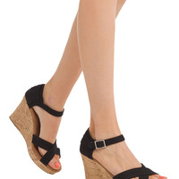 TOMS Strappy Wedge Sandals - Black Canvas