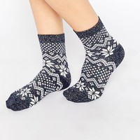 ASOS Christmas Socks With Metallic Fair Isle Pattern