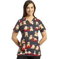White Cross Puppy Clause V-Neck Scrub Top - Veterinary Prints - Marcus Uniforms