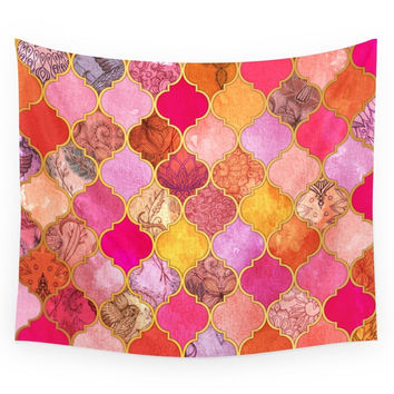 Society6 Hot Pink Gold Tangerine Taupe Decorative Wall Tapestry