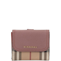 Burberry Luna Soft Grain Leather/Check French Wallet