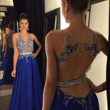 Don's Bridal Sexy Royal Blue Appliques Lace Crystal Chffion Prom Dresses 2016 Unique Backless Beaded Long Evening Party Gowns