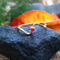 NATURAL RUBY in DELICATE but solid 9K gold ring, small gem and thin ring.