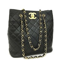CHANEL Quilted Matelasse Lambskin CC Logo Chain Shoulder Tote Bag Black /k144