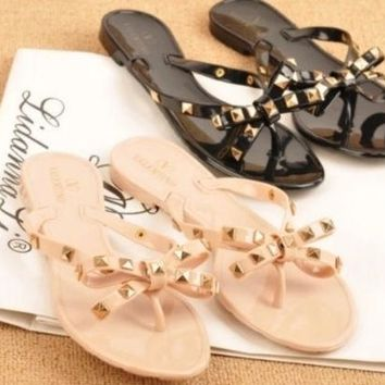 PEAPONQK NEW WOMEN'S SANDALS RIVET BOW SLIPPERS FLAT SANDALS