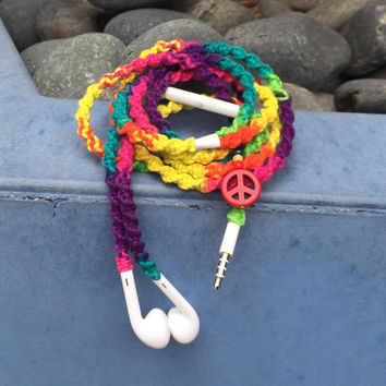 Rainbow MyBudsBuzz Wrapped Headphones Tangle Free Earbuds Your Choice of Headphones