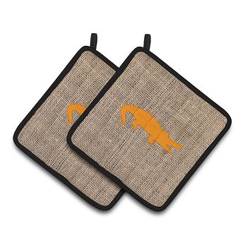 Alligator Faux Burlap and Orange   Pair of Pot Holders BB1120-BL-OR-PTHD