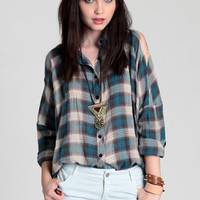 Button Up Ranchero Top in Blue by UNIF - $77.00: ThreadSence, Women's Indie & Bohemian Clothing, Dresses, & Accessories