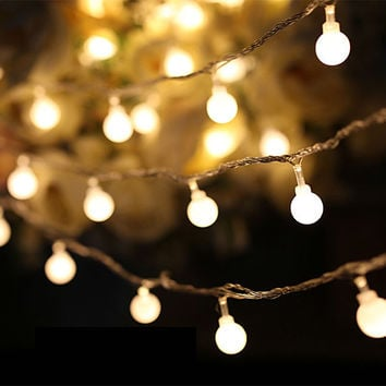 Luminaria 50 Led Cherry Balls Fairy String Decorative Lights Battery Operated Wedding Christmas Outdoor Patio Garland Decoration