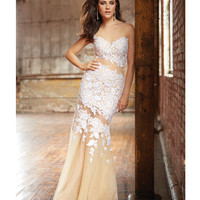 Nude & White Lace Applique Strapless Dress