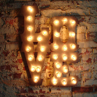 """Love sign light fixture 14"""" tall letters LOVE sign polished steel carnival font."""
