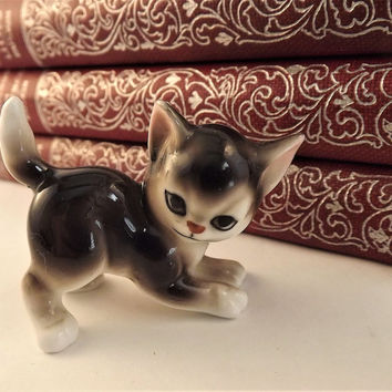 Vintage Glass Cat Figurine, Made in Japan Cat Collectible, Siamese Cat, Asian Cat, Brown Cat with White Paws, Porcelain Cat, Gift for Her