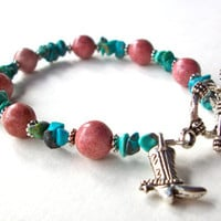 Western bracelet, turquoise silver cowgirl bracelet with cowboy boot turquoise and brown stone  beads and toggle clasp boho southwest