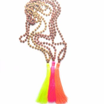 Mala Yoga Tassel Necklaces ,Natural Rudraksha Praying Beads , Meditation Necklace , Hand Knotted,Neon Yellow/Pink/Orange Tassel
