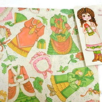 Retro Paper Doll Christmas Wrapping Paper With Dolls | Two Packages Paper Dolls And Dresses | Hallmark And Current Wrapping Paper