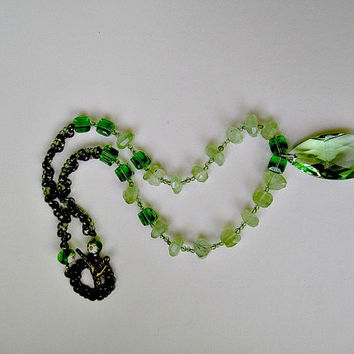 Green Prehnite and Peridote Necklace with Swarovski Pendant and Cubes