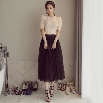 US Women High Waist Pleated Tulle Tutu Dress Lady Evening Beach Long Maxi Skirts