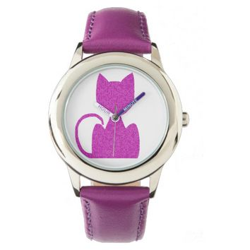 Pink Puzzled Cat Watches