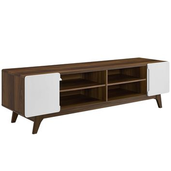 "Tread 70"" Media Console TV Stand Walnut White EEI-3306-WAL-WHI"