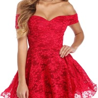 Red Strapless Drop Shoulder Lace Cocktail Party Dress
