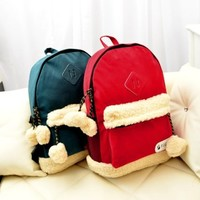 CrazyPomelo Lovely Plush Christmas Backpack (Cyan)