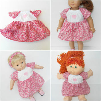 """bitty baby doll clothes girl 15"""" or 18"""", or 16"""" Cabbage Patch kids, pink white heart dress & headband, flower,handmade adorabledolldesigns"""