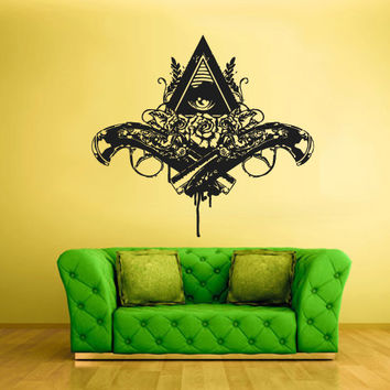 Wall Vinyl Sticker Decals Decor Art Bedroom Design Mural Modern Design Revolver Gun Illuminati Coeptis Eye Roses (z2371)