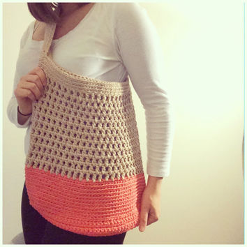 Summer Tote Bag Crochet Market Bag Beach Bag Messenger Bag Color Block Womens Accessories Cotton Summer Spring Fashion Tan Coral